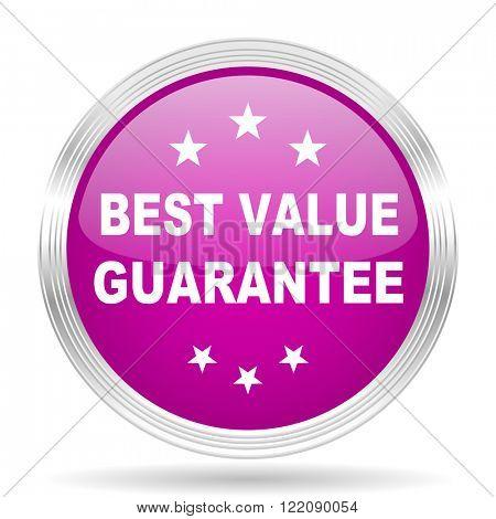 best value guarantee pink modern web design glossy circle icon