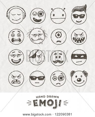 Hand drawn set of Emoticons. Vector set of Emoji. Smile icons. Vector illustration.