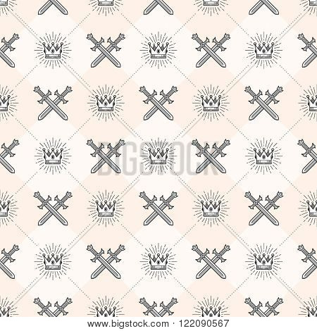 Vector seamless background with crossed swords and sunburst royal crown - pattern for wallpaper, 