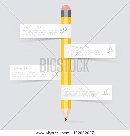 Business Education Pencil Staircase Infographics Option.