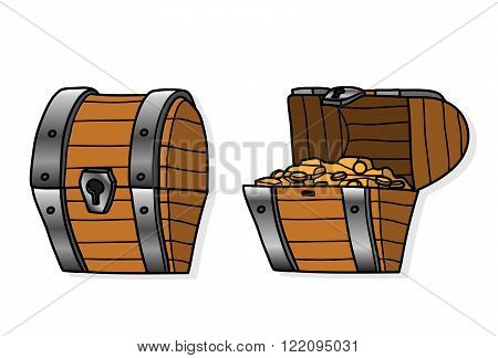 Treasure Chest Set, a set of hand drawn vector treasure chest illustration.