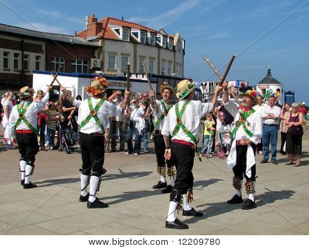 Morris dancers in Whitby, North Yorkshire