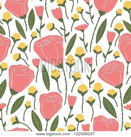Elegant Seamless Pattern With Pink Flowers.