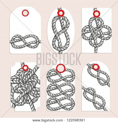 Vintage tags with eternity eight knot vector set