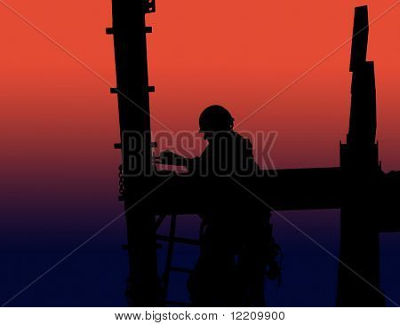 Silhouette of construction worker fitting bolts to girder. Red to blue graduated background.
