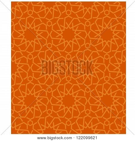 Ornamental seamless loop arabic or islamic geometric pattern tiles. Tessellation background with orange lines
