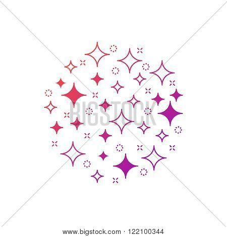 Magic sparkle circle of stars, linear design