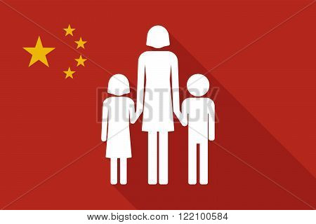 China Long Shadow Flag With A Female Single Parent Family Pictogram