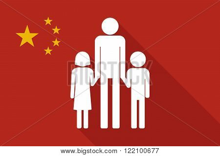 China Long Shadow Flag With A Male Single Parent Family Pictogram