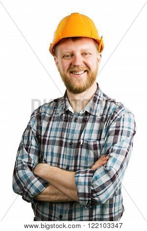 Funny happy bearded man in an orange helmet