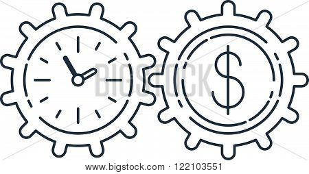 Time is money, savings account concept, linear design