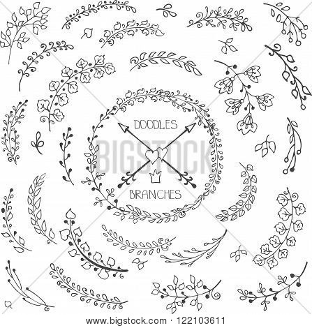 Vector Doodles branches, leaves, natural decor elements set for hand sketched cards, laurels wreath.Design template, invitations, logo.Vintage  wedding, Valentine day, birthday, Easter holiday.Linear silhouette