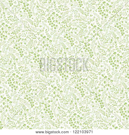 Vector Doodles branches pattern.Leaves sihoette, laurels natural hand sketched decor .For wrap, backdrop, fabric ornament, background.Vintage  wedding, Valentine day, birthday, Easter holiday