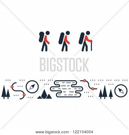 Hike team, backpack, outdoor activities illustration isolated