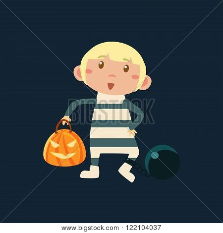 Boy In Convict In Irons  Haloween Disguise Funny Flat Vector Illustration On Dark Background