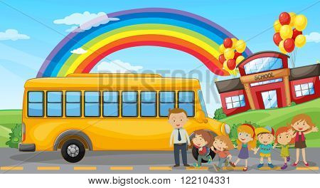 Students and school bus at school illustration