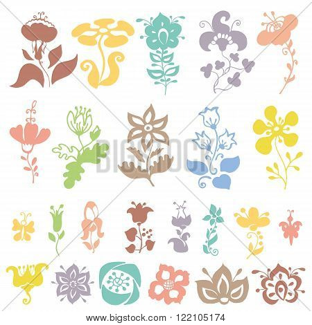 Doodles flowers and buds silhouettes in pastel colors.Isolated on white for greeting cards, Easter, birthday, wedding invitation , pattern, scrapbooking.Hand drawing decor elements.Retro vector illustration