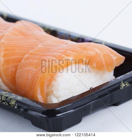Sushi Salmon (Nigiri) on the meal box