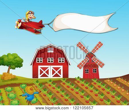 Monkey flying plane over farmyard illustration