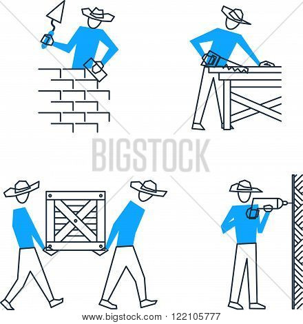 Builders and workers. Home improvement. Set of workers