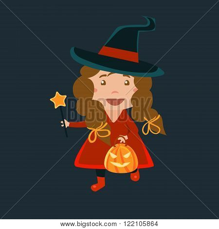 Girl In Whitch Red Haloween Disguise Funny Flat Vector Illustration On Dark Background