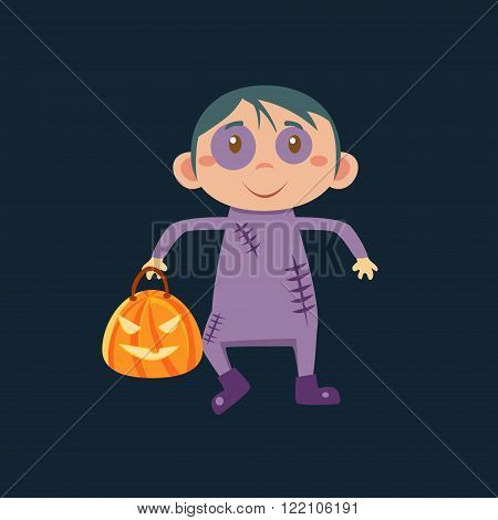 Boy In Zombie Haloween Disguise Funny Flat Vector Illustration On Dark Background