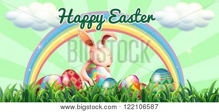 Easter bunny with decorated eggs illustration