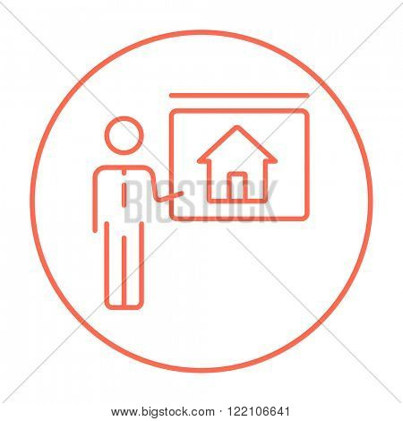 Real estate agent showing house line icon.