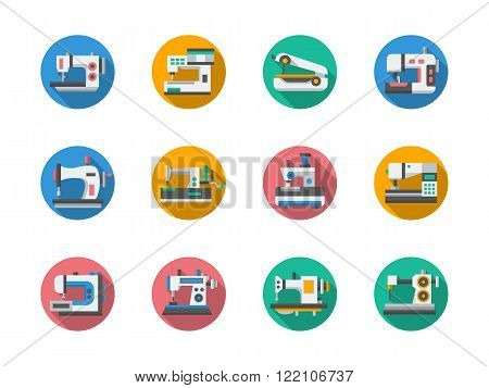 Sewing equipment round flat color vector icons