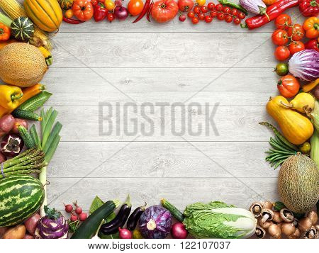 Healthy and Fresh vegetables. Studio photo of different fruits and vegetables on white wooden table. High resolution product.