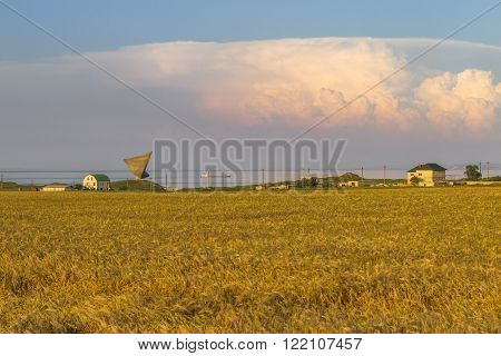 Seascape at sunset with field grasses beautiful clouds and a monument-sail Russia Crimea Kerch Crimea coast.