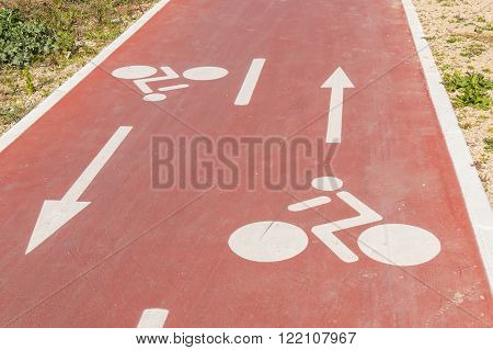 Traffic signs  drawn in the Cycleway, transport
