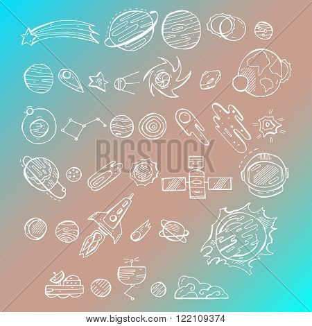 Sketchy vector hand drawn white doodles cartoon set of Space objects and symbols on blue gradient background.Hand drawn solar system with sun planets asteroids and other outer space objects. Cute and decorative doodle style line art.