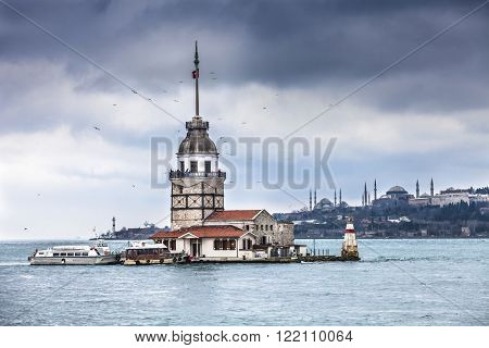 The Maidens Tower also known as Leander's Tower in Bosphorus strait, Istanbul, Turkey