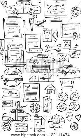 Hand draw vector Doodle icons set.Selling cars on internet and in car stores.Design doodle elements for banner flyer business card poster.