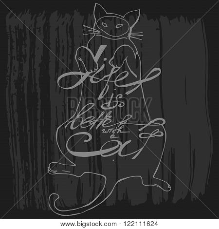 Hand draw vector cute cat with text - life is better with a caton his belly.Cute element for your blog posts.Artistic design for a logo greeting cards invitations posters banners seasonal greetings illustrations.