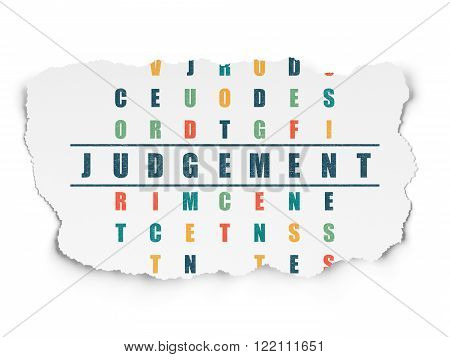 Law concept: Judgement in Crossword Puzzle