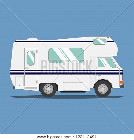 Recreational motor home vehicle. Camping trailer family caravan. Motorhome trailer car. Rv mobile home truck. Traveler truck flat vector icon.