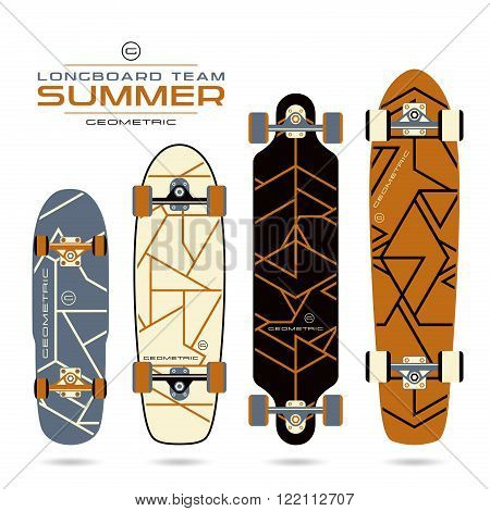 Geometric Lines Print On Longboards