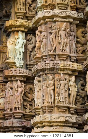 Stone Carved Erotic Bas Relief In Hindu Temple In Khajuraho,  India