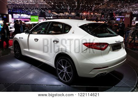 Geneva, Switzerland - March 1, 2016: Maserati Levante, rear-side view presented on the 86th Geneva Motor Show in the PalExpo