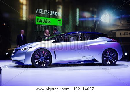 Geneva, Switzerland - March 1, 2016: Nissan IDS Concept, side view presented on the 86th Geneva Motor Show in the PalExpo