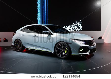Geneva, Switzerland - March 1, 2016: Honda Civic Prototype, front-side view presented on the 86th Geneva Motor Show in the PalExpo
