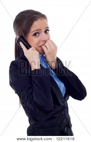 Business Woman Worries On The Phone
