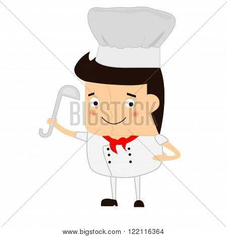 Cartoon chef with soup ladle on a white background. Kitten