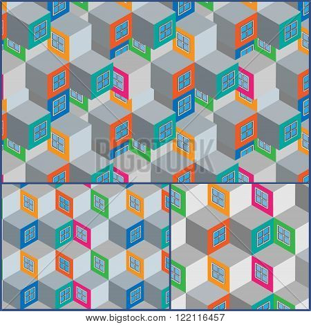 Set colorful flat isometric city seamless pattern. Vector illustration.