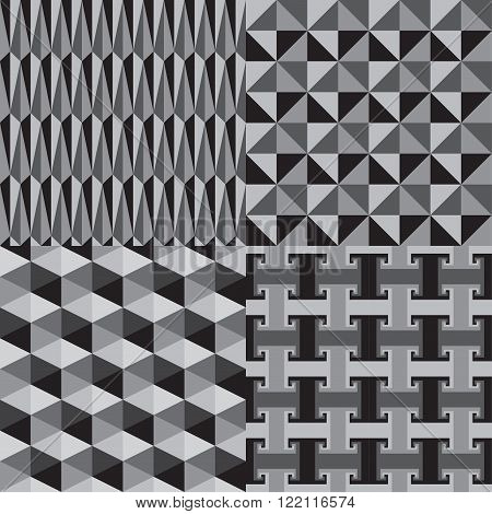 Abstract Geometric Seamless Pattern Greyscale Vector Illustration