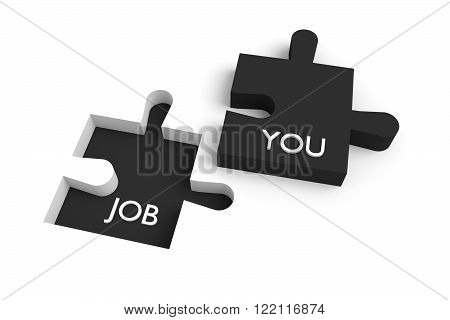 Missing puzzle piece, a job for you black, jigsaw on a white background