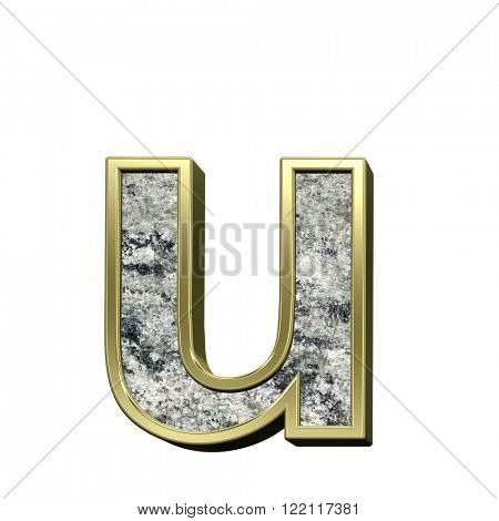 One lower case letter from granite with gold frame alphabet set isolated over white. Computer generated 3D photo rendering.