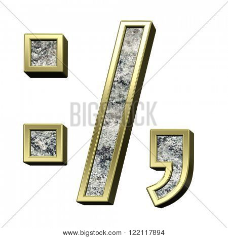 Colon, semicolon, period, comma from granite with gold frame alphabet set isolated over white. Computer generated 3D photo rendering.